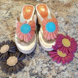 Lalla sandals with interchangeable sunflowers.